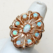 SALE Gorgeous 14kt Gold Ring with 9 Opals - Size 8 - Lots of Fire!
