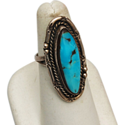 SALE Sterling and Turquoise Ring Size 6-1/2