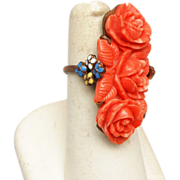 SALE Fabulous Molded Coral and Enamel Ring - 7-1/2