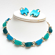 SALE 3 Shades of Blue Lucite Thermoset Necklace and Earrings Set