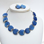 SALE Charel Blue Lucite or Thermoset Necklace and Earrings Set
