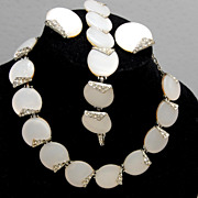 SALE Charel White Lucite or Thermoset and Rhinestone Parure