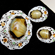 SALE W. Germany Art Glass and White Japanned Brooch and Earring Set