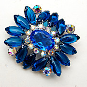 SALE Blue Unfoiled Rhinestones and AB Rhinestone Brooch