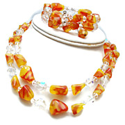 SALE Red and Yellow Glass and Crystal Necklace and Bracelet Set