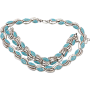 SALE Boucher Turquoise Beaded Necklace and Bracelet Set