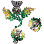 SALE Enamel and Marcasite Thistle Brooch and Earring Set