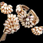SALE Fabulous White Rhinestone Bracelet, Brooch and Earring Set