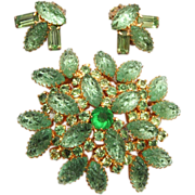 SALE Green Lava Stone Brooch and Earring Set