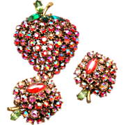 SALE ART Signed Apple Rhinestone Brooch and Earring Set
