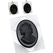 SALE Reverse Carved Lucite Cameo Brooch and Earring Set