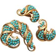 SALE Turquoise Ball Brooch and Earring Set