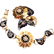 SALE Beautiful Black and Gold Bracelet and Dress Clip Set