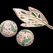 SALE Kramer Enameled Brooch and Earring Set