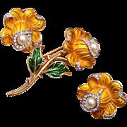 Trifari Yellow Enameled Flower Brooch and Earring Set