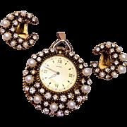 SALE Florenza Watch Pendant and Earrings Set