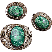 SALE Chinese Silver Filigree and Green Enameled Brooch and Earring Set