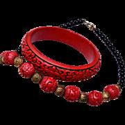 SALE Cinnabar Bracelet and Necklace Set