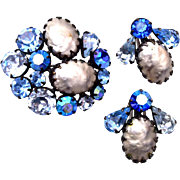 SALE Regency Blue Prong Set Rhinestones and Faux Baroque Pearl Brooch and Earring Set