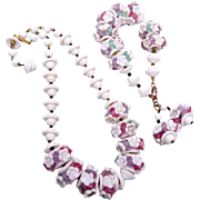 SALE White Glass Flower and Pastel Lucite Spacers Necklace and Bracelet Set