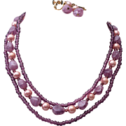 SALE 3 Strand Miriam Haskell Purple Glass and Faux Pearl Necklace & Earring Set