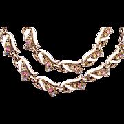 SALE Enameled and Pastel Rhinestone Necklace and Bracelet Set
