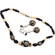 SALE Black and Cream Colored Carved Celluloid Necklace and Earring Set
