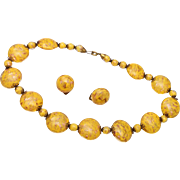 SALE Yellow Murano Beaded Necklace and Earrings Purchased in 1955