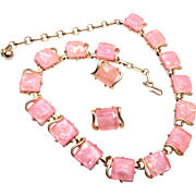 SALE Pink Thermoset Coro Necklace and Earring Set