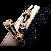Enalemeled Horse Head Black Glass Necklace and Hinged Bracelet Set