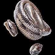 Whiting and Davis Mesh Snake Bracelet and Earring Set