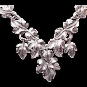 SALE 1970's Trifari Kunio Matsumoto Silver Leaf Necklace