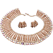 SALE Topaz and AB Rhinestone Collar Necklace and Earring Set