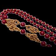 SALE Miriam Haskell Burgundy Necklace
