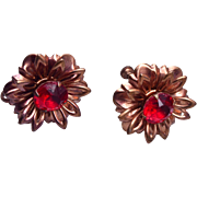 Copper and Lucite Red Stone Flower Earrings