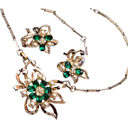 Green Rhinestone and Pearl Necklace and Earring Set