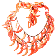 Colorful Orange Plastic Necklace, Bracelet and Earring Set