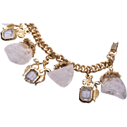 White Ice Lucite and Crystal Charm Bracelet