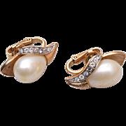 Pre 1955 Trifari Faux Pearl Earrings