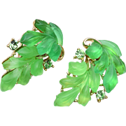 SALE Lisner Green Glowing Leaf Earrings
