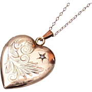 SALE Gold Filled Heart Shaped Locket With Rhinestone