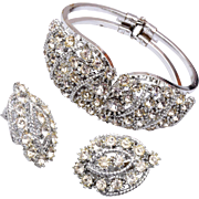 SALE Hinged Rhinestone Bracelet and Matching Earrings