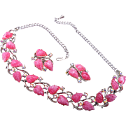 SALE Pink Molded Plastic Necklace and Earring Set