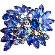 SALE Weiss Blue Rhinestone Brooch