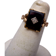 SALE 10kt Gold Filled Onyx Ring Size 5
