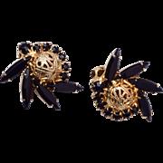 SALE D&E Juliana Earrings - Black and Gold Filigree