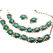 SALE Green Crown Trifari Necklace, Bracelet and Earring Set