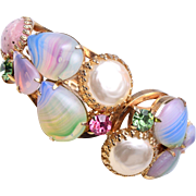 SALE Colorful Glass and Faux Pearl Clamper Bracelet