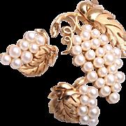 SALE Trifari Faux Pearl Grape Cluster Brooch and Earring Set