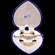 SALE Coro Pearl and Rhinestone Parure in Original Box
